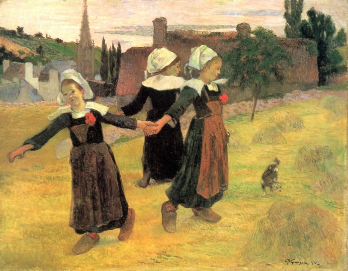 Papier peint vinyle Paul Gauguin - Bretonnes dansant, Pont-Aven - Reproductions