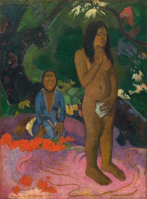 Papier peint vinyle Paul Gauguin - Mahna no varua ino (Le diable parle) - Reproductions