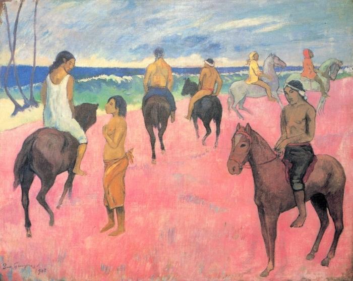 Papier peint vinyle Paul Gauguin - Cavaliers sur la plage - Reproductions