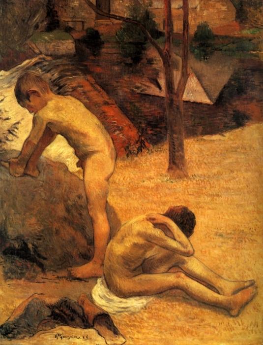 Naklejka Pixerstick Paul Gauguin - Kąpiący się bretońscy chłopcy - Reprodukcje