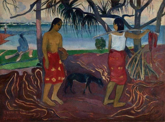 Papier peint vinyle Paul Gauguin - I Raro te Oviri (Sous le Pandanus) - Reproductions