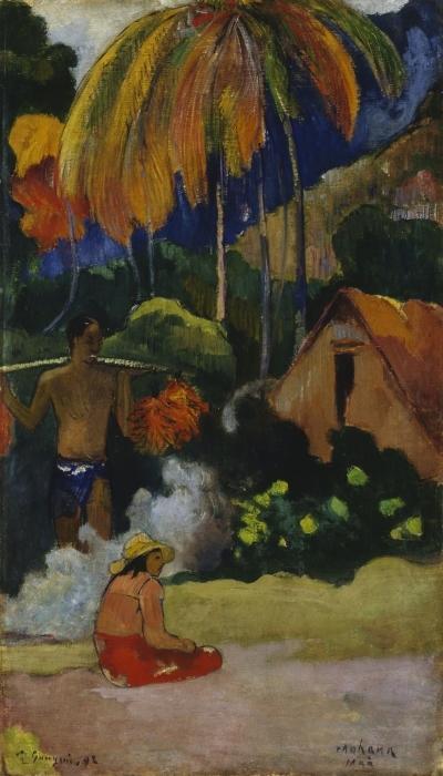 Sticker Pixerstick Paul Gauguin - Mahana Maà (Paysage à Tahiti) - Reproductions