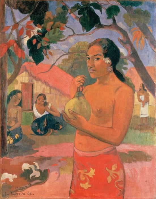 Pixerstick Aufkleber Paul Gauguin - Eu Haere ia oe (Wohin gehst du oder Tahitische Frau mit Frucht) - Reproduktion