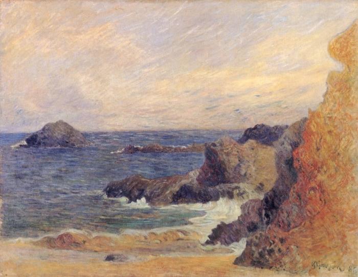 Papier peint vinyle Paul Gauguin - Rochers au bord de la mer - Reproductions