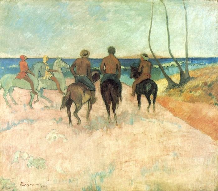 Sticker Pixerstick Paul Gauguin - Cavaliers sur la plage - Reproductions