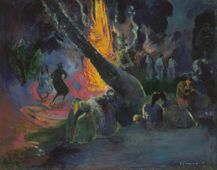 Naklejka Pixerstick Paul Gauguin - Upa upa (Taniec ognia) - Reprodukcje