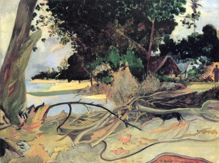 Naklejka Pixerstick Paul Gauguin - Te burao (Krzew hibiskusa) - Reprodukcje
