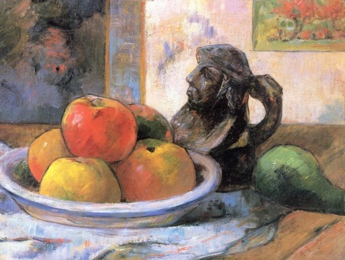 Vinilo Pixerstick Paul Gauguin - Todavía vida con manzana, una pera y un retrato de cerámica Jarra - Reproducciones
