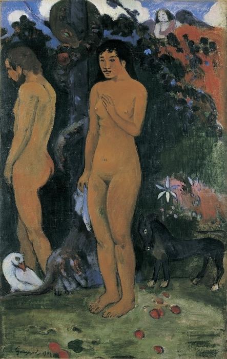 Naklejka Pixerstick Paul Gauguin - Adam i Ewa - Reprodukcje
