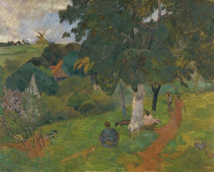 Pixerstick Aufkleber Paul Gauguin - Landschaft auf Martinique - Kommen und Gehen - Reproduktion