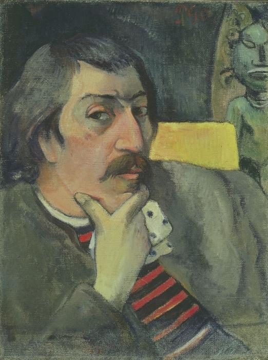 Naklejka Pixerstick Paul Gauguin - Autoportret z idolem - Reprodukcje