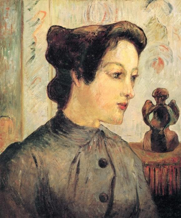 Naklejka Pixerstick Paul Gauguin - Portret młodej kobiety - Reprodukcje