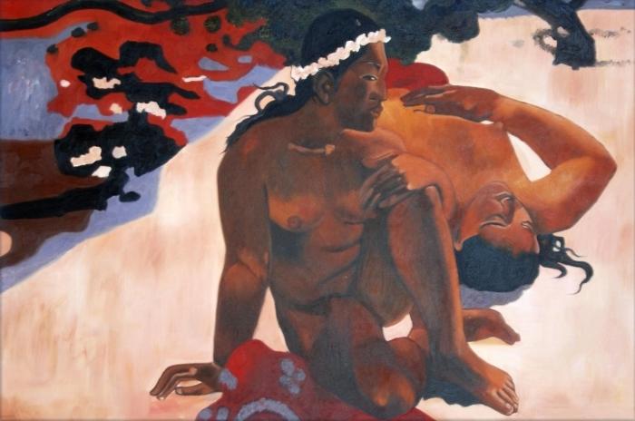Naklejka Pixerstick Paul Gauguin - Aha oe feii? (Cóż to? Jesteś zazdrosna?) - Reprodukcje
