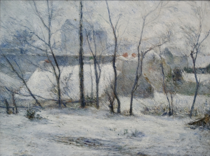 Naklejka Pixerstick Paul Gauguin - Krajobraz zimowy - Reprodukcje