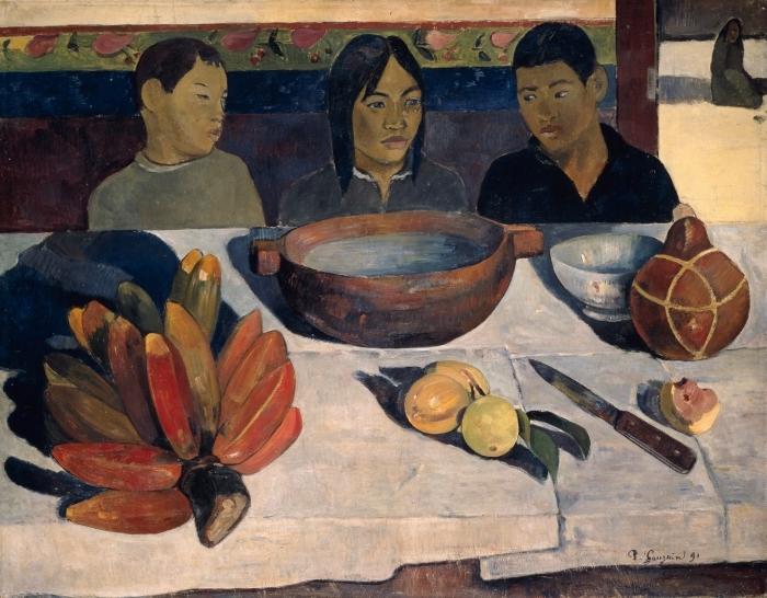 Naklejka Pixerstick Paul Gauguin - Posiłek (Banany) - Reprodukcje