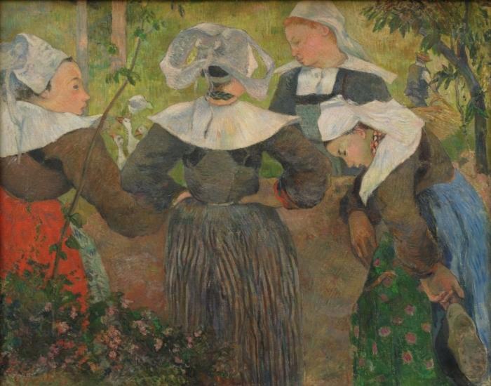 Papier peint vinyle Paul Gauguin - La danse des quatre bretonnes - Reproductions