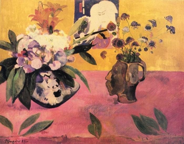 Naklejka Pixerstick Paul Gauguin - Kwiaty i japońska książka - Reprodukcje