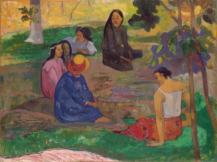 Pixerstick Aufkleber Paul Gauguin - Das Gespräch - Reproduktion