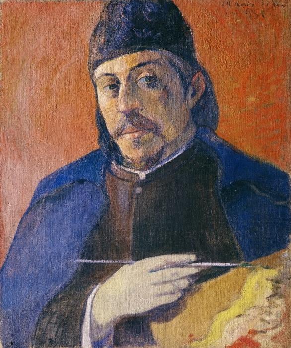 Vinyl-Fototapete Paul Gauguin - Selbstbildnis mit Palette und Pinsel - Reproduktion