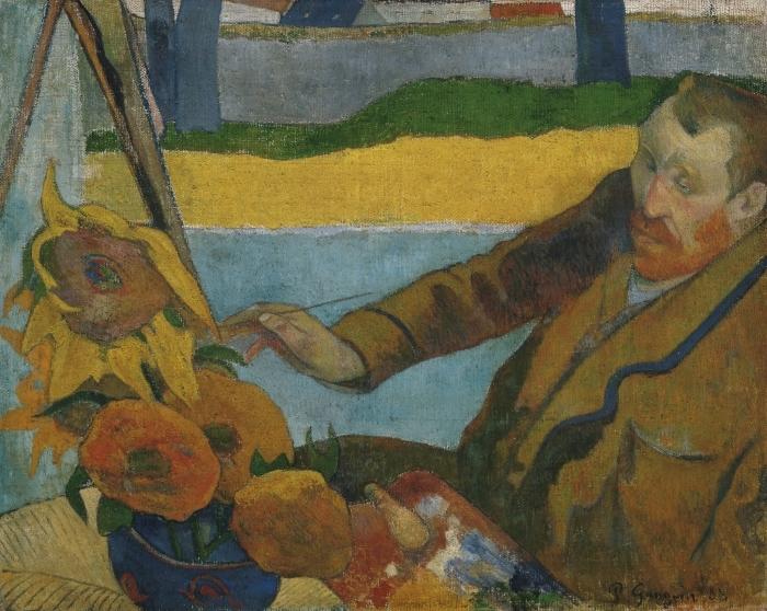 Pixerstick Aufkleber Paul Gauguin - Porträt des Vincent van Gogh, Sonnenblumen malend - Reproduktion