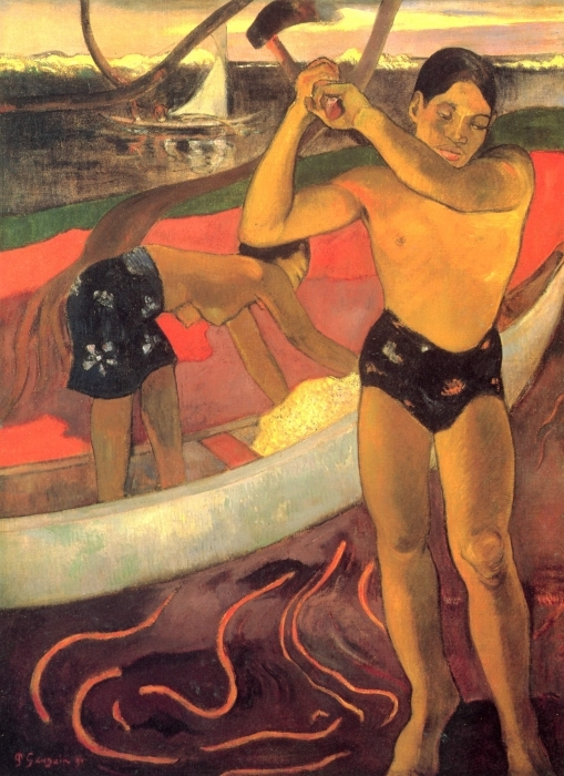 Papier peint vinyle Paul Gauguin - L'Homme à la hache - Reproductions