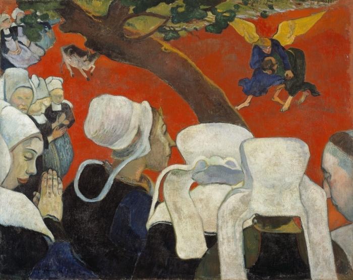Naklejka Pixerstick Paul Gauguin - Wizja po kazaniu - Reprodukcje