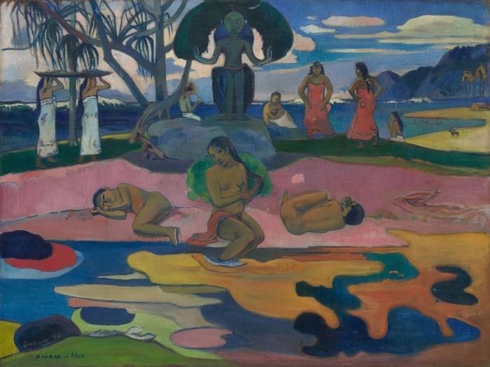 Naklejka Pixerstick Paul Gauguin - Mahana no atua (Dzień bogów) - Reprodukcje