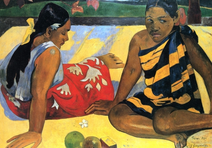 Selbstklebende Fototapete Paul Gauguin - Zwei Frauen von Tahiti - Reproduktion