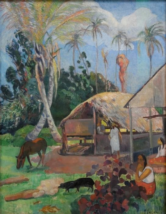 Pixerstick Sticker Paul Gauguin - De zwarte zwijnen - Reproducties
