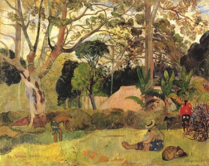 Pixerstick Aufkleber Paul Gauguin - Te Raau Rahi (Der große Baum) - Reproduktion