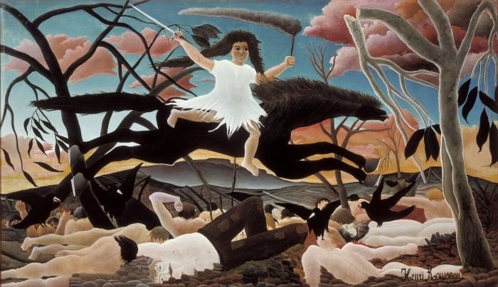 Naklejka Pixerstick Henri Rousseau - Wojna - Reprodukcje