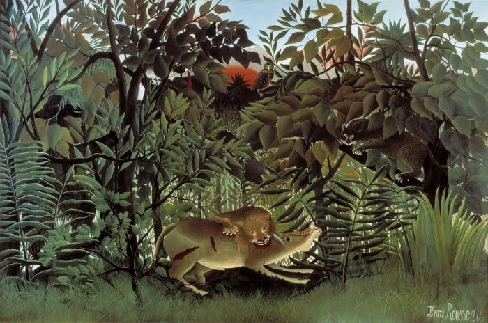 Naklejka Pixerstick Henri Rousseau - Lew, zgłodniawszy, rzuca się na antylopę - Reprodukcje