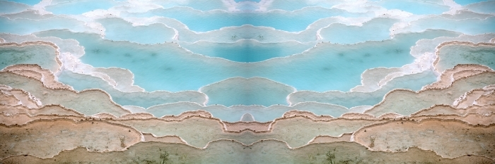 Travertine pools and terraces in Pamukkale Turkey Pixerstick Sticker - Natural Hues