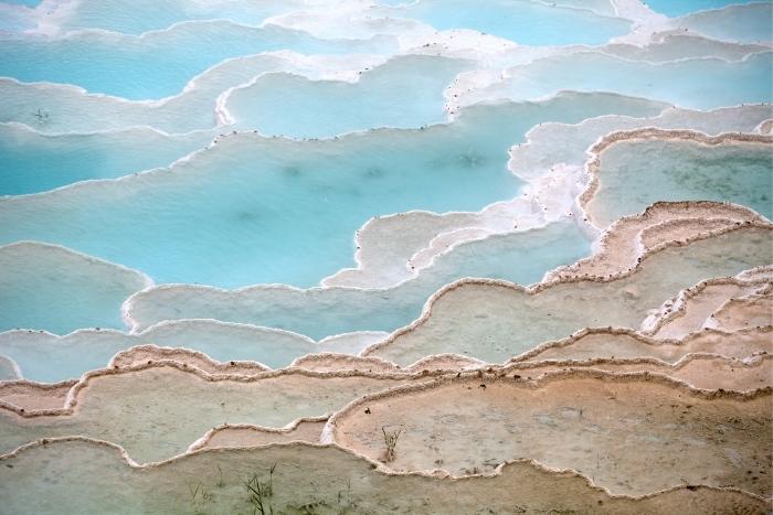 Cam ve Pencere Çıkartması Pamukkale, Türkiye'de traverten havuzları ve teraslar -