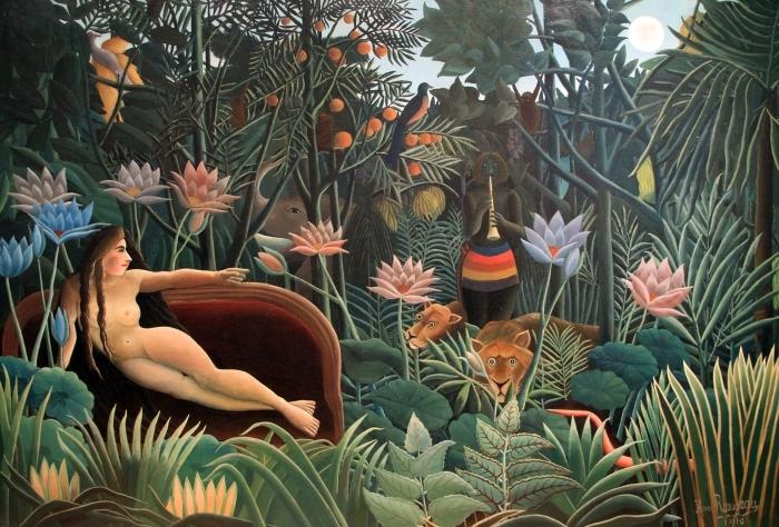Sticker Pixerstick Henri Rousseau - L'artiste peignant sa femme - Reproductions
