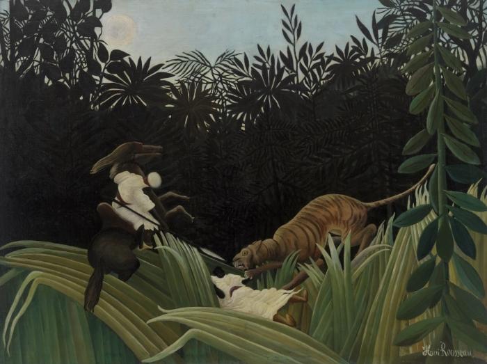 Papier peint vinyle Henri Rousseau - Éclaireurs attaqués par un tigre - Reproductions