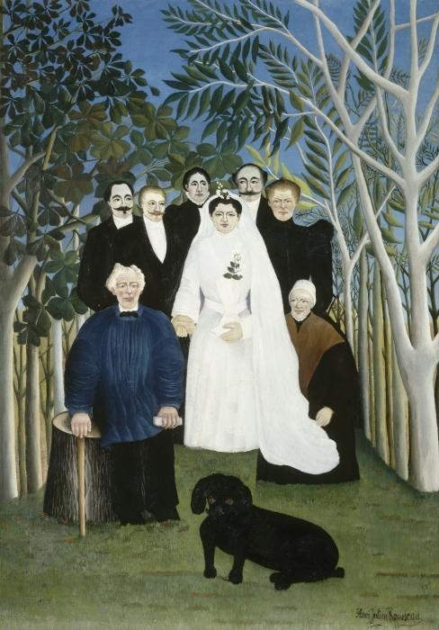 Pixerstick Aufkleber Henri Rousseau - Hochzeit auf dem Land - Reproduktion