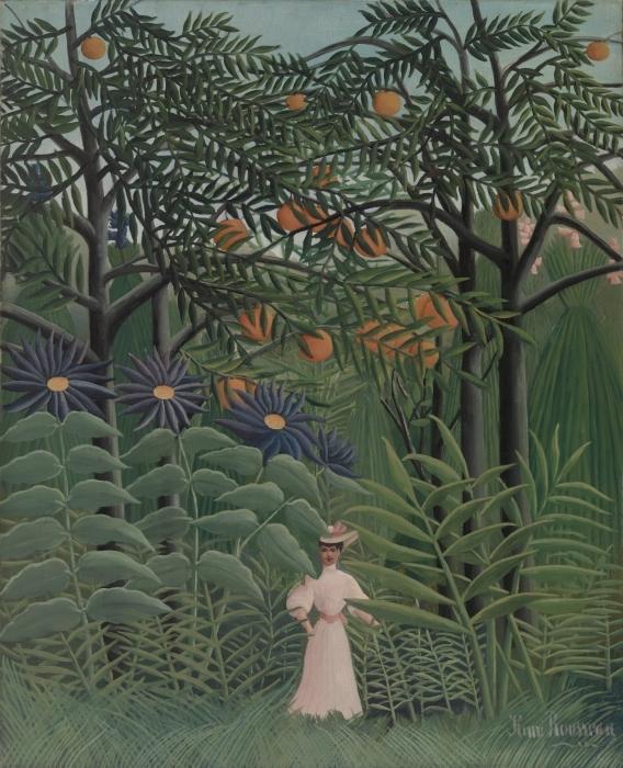 Papier peint vinyle Henri Rousseau - Femme se promenant dans une forêt exotique - Reproductions