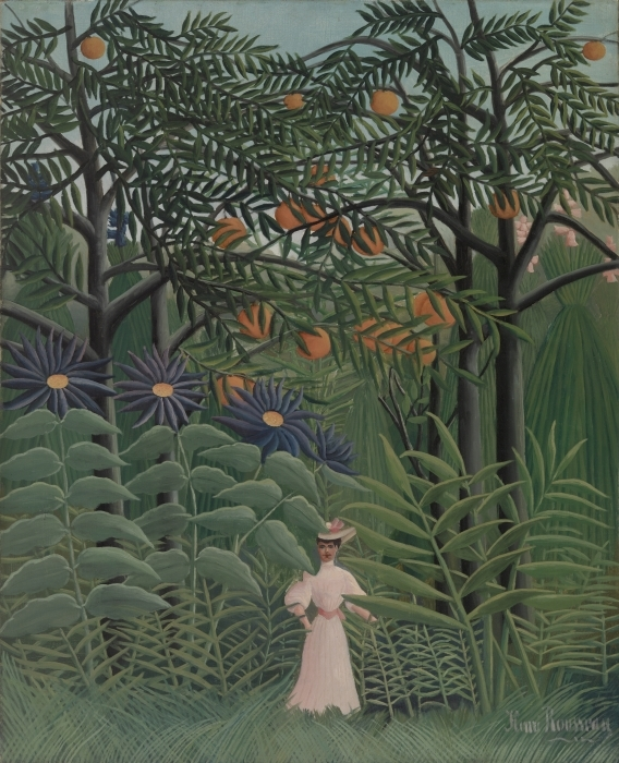 Vinilo Pixerstick Henri Rousseau - Recorrer de la mujer en el bosque exótico - Reproducciones