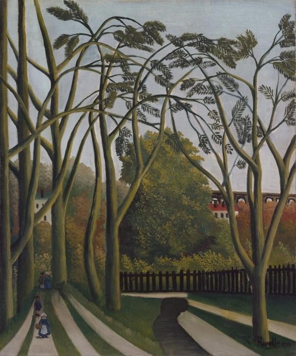 Papier peint vinyle Henri Rousseau - Les rives de la Bièvre près de Bicêtre - Reproductions