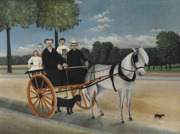 Naklejka Pixerstick Henri Rousseau - Bryczka ojca Junier - Reprodukcje