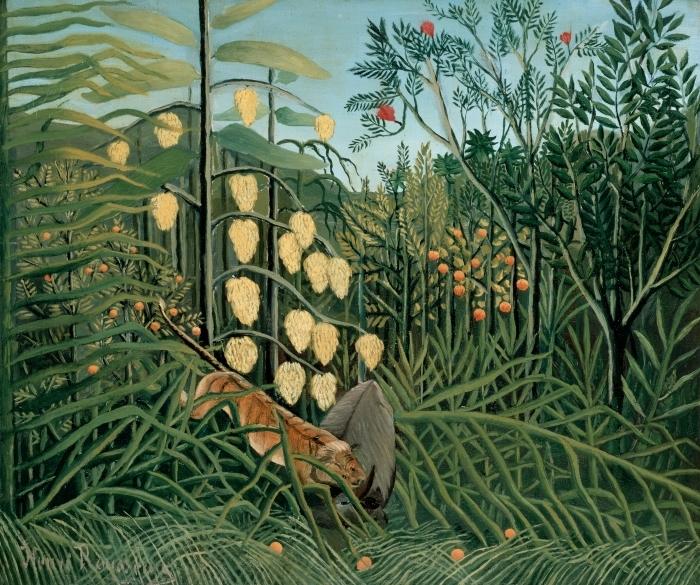 Pixerstick Aufkleber Henri Rousseau - Tiger fällt einen Büffel an - Reproduktion