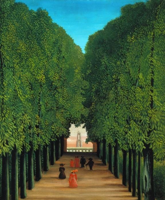 Papier peint vinyle Henri Rousseau - Allée au parc de Saint-Cloud - Reproductions