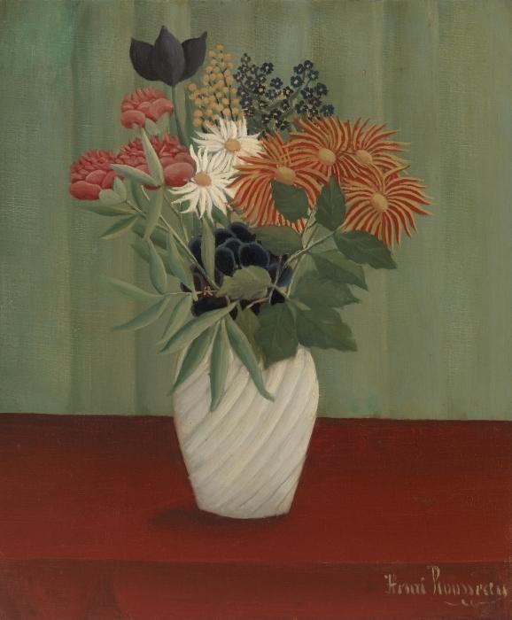 Papier peint vinyle Henri Rousseau - Bouquet de fleurs - Reproductions