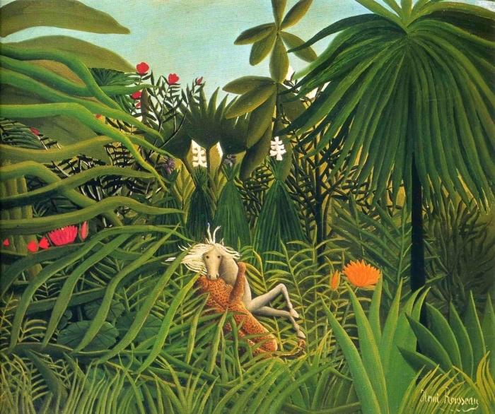 Naklejka Pixerstick Henri Rousseau - Jaguar atakujący konia - Reproductions