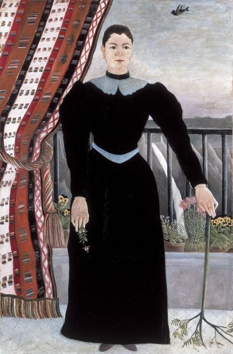 Vinyl-Fototapete Henri Rousseau - Frau mit einem Zweig (Frauenbildnis: Madame M) - Reproduktion
