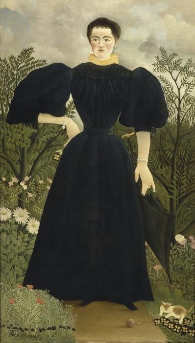Naklejka Pixerstick Henri Rousseau - Portret kobiety - Reprodukcje