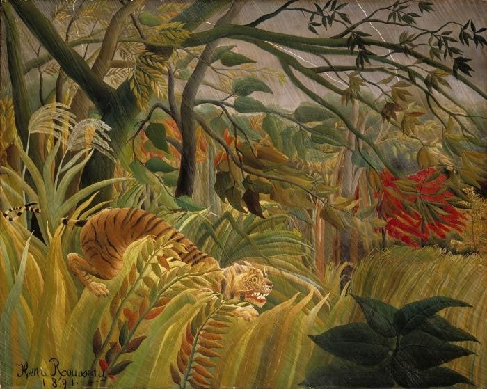 Papier peint vinyle Henri Rousseau - Tigre dans une tempête tropicale (Surpris!) - Reproductions