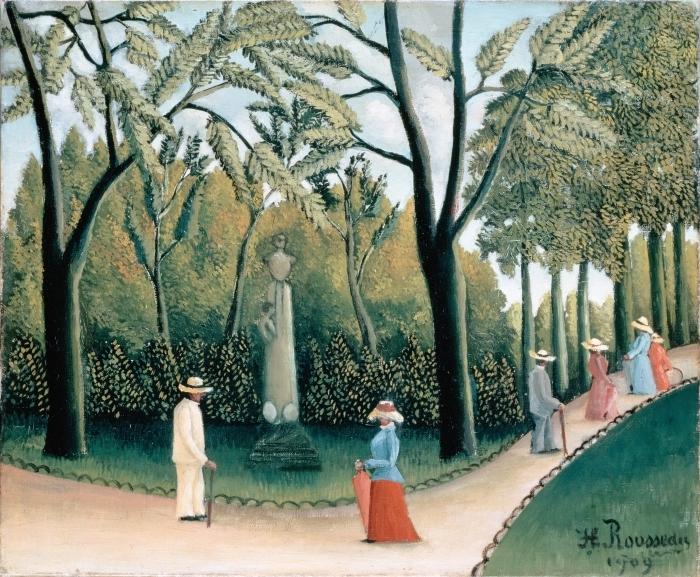 Pixerstick Aufkleber Henri Rousseau - Der Spaziergang im Jardin du Luxembourg, Denkmal Chopins - Reproduktion