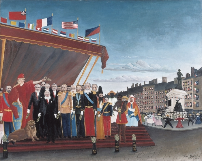 Henri Rousseau - The Representatives of Foreign Powers Coming to Salute the Republic as a Sign of Peace Pixerstick Sticker - Reproductions